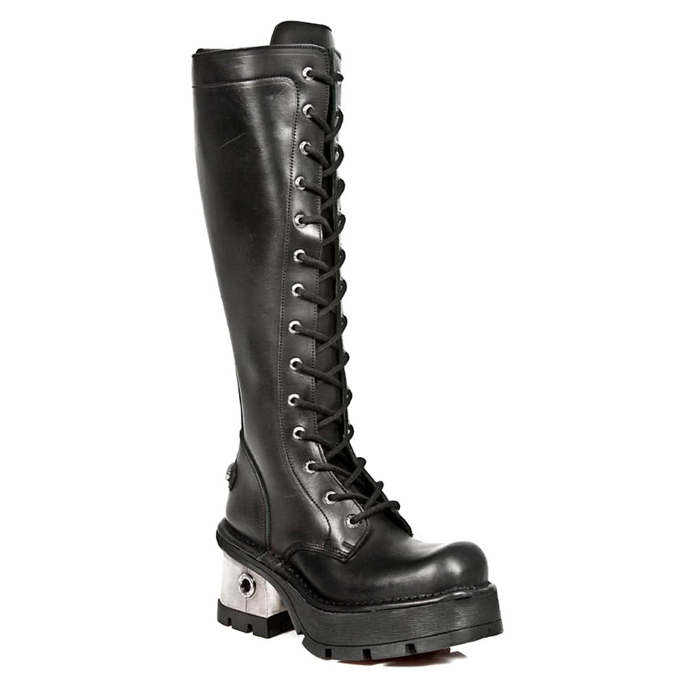 New Rock Boots Tall Laced Steel Heel Boots M.236S1 (Black)