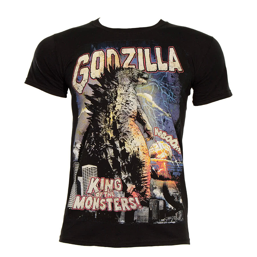 Godzilla Retro Poster T Shirt (Black)