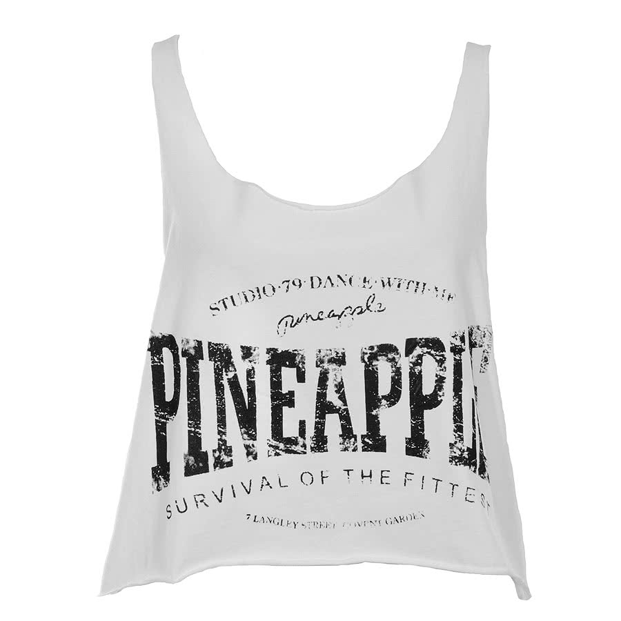 Pineapple Raw Crop Vest Top (White)