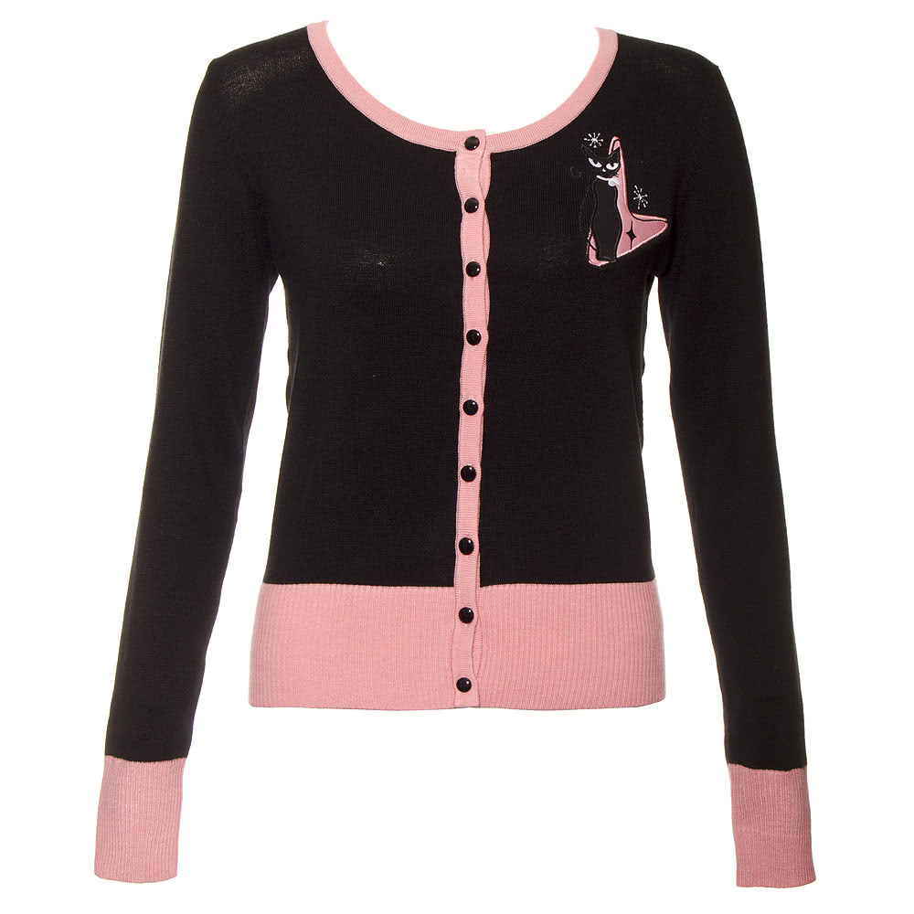 Voodoo Vixen Cat Cardigan (Black/Pink)