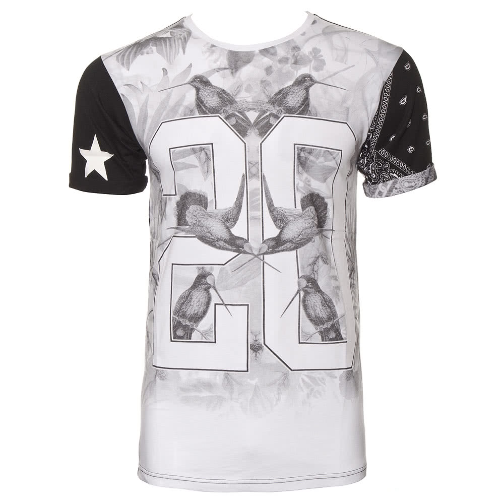 Monochrome Birds Of Harlem T Shirt (Grey/Black)