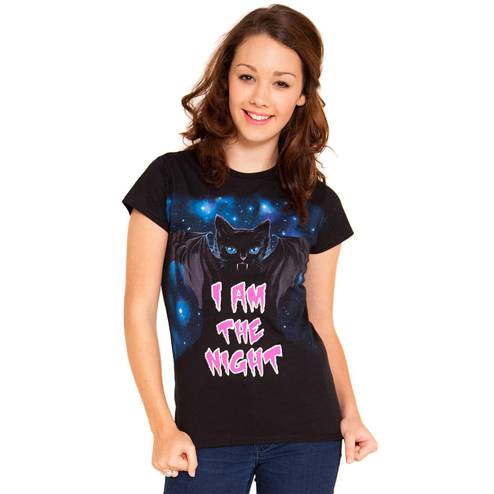 Flip Flop & Fangs I Am The Night Skinny T Shirt (Black)