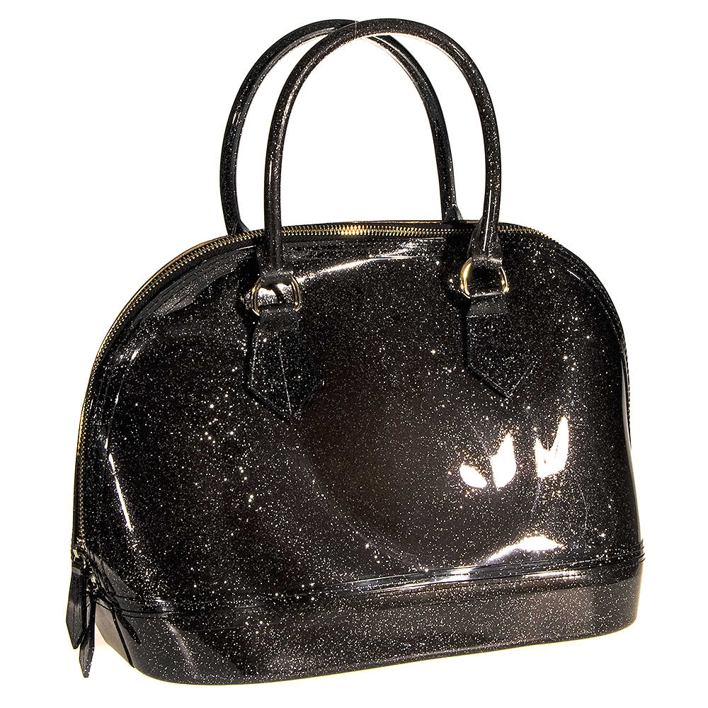 Blue Banana Large Glitter Plastic Handbag (Black)