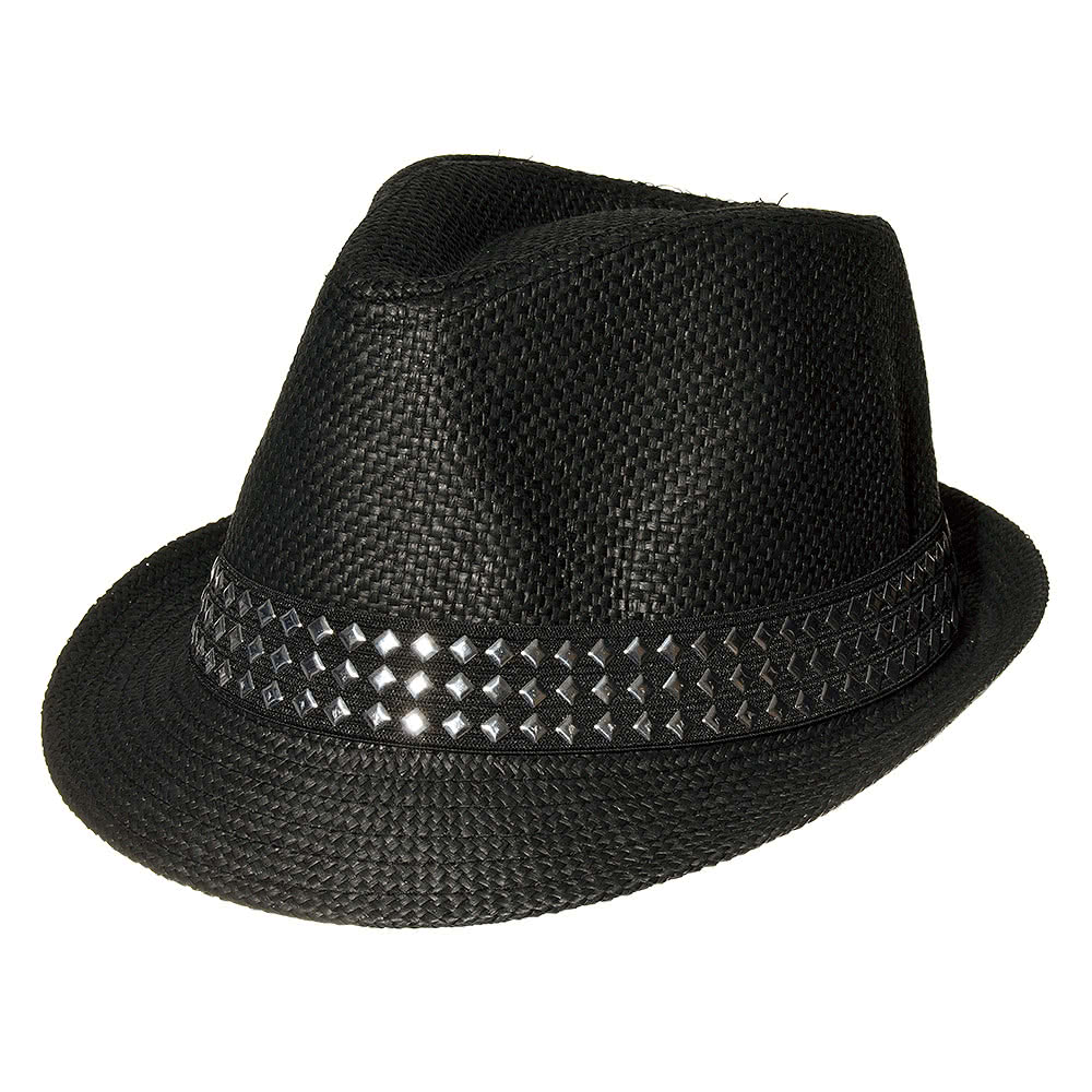 Blue Banana Trilby Straw Hat With Studs (Black)