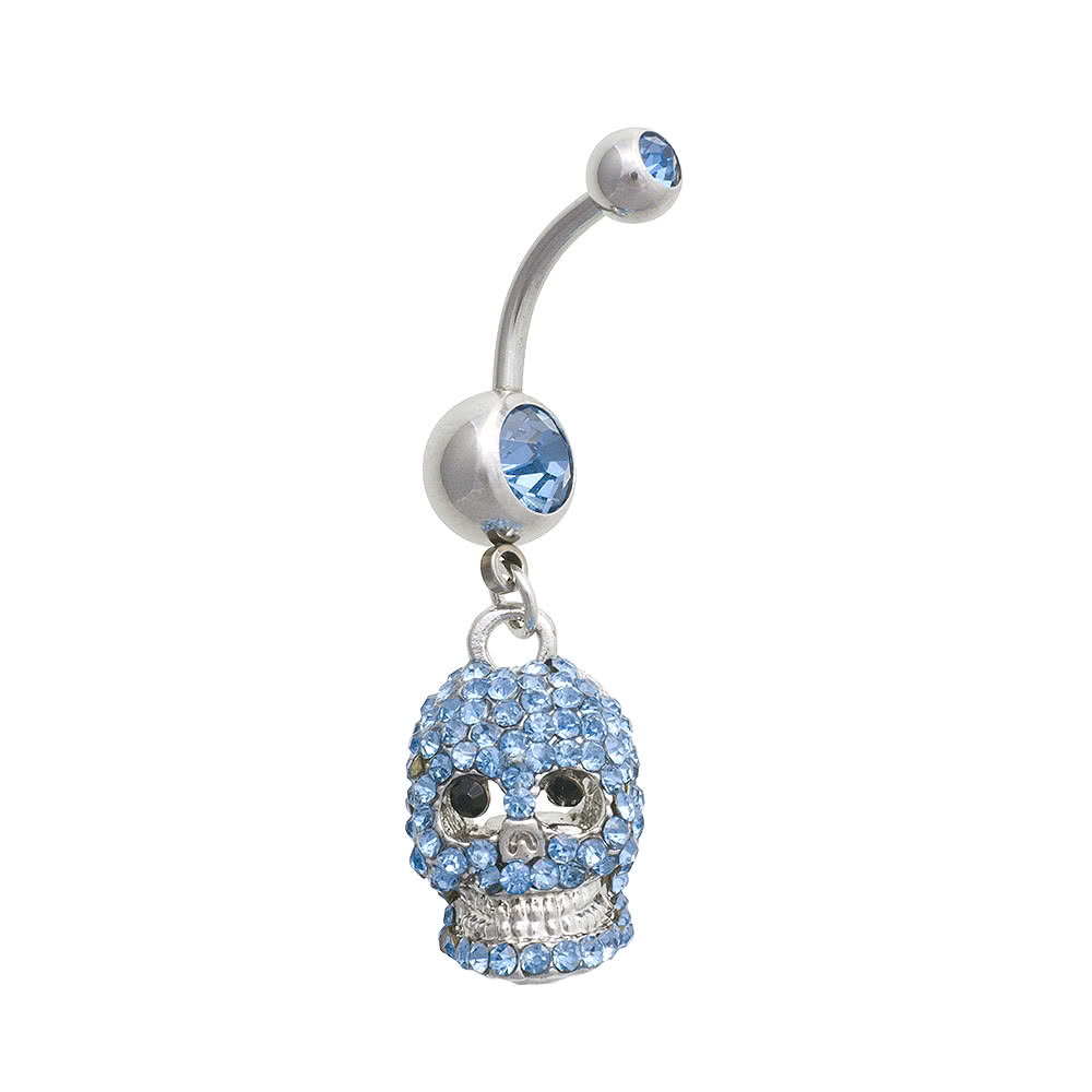 Blue Banana Skull 1.6mm Navel Bar (Sapphire)