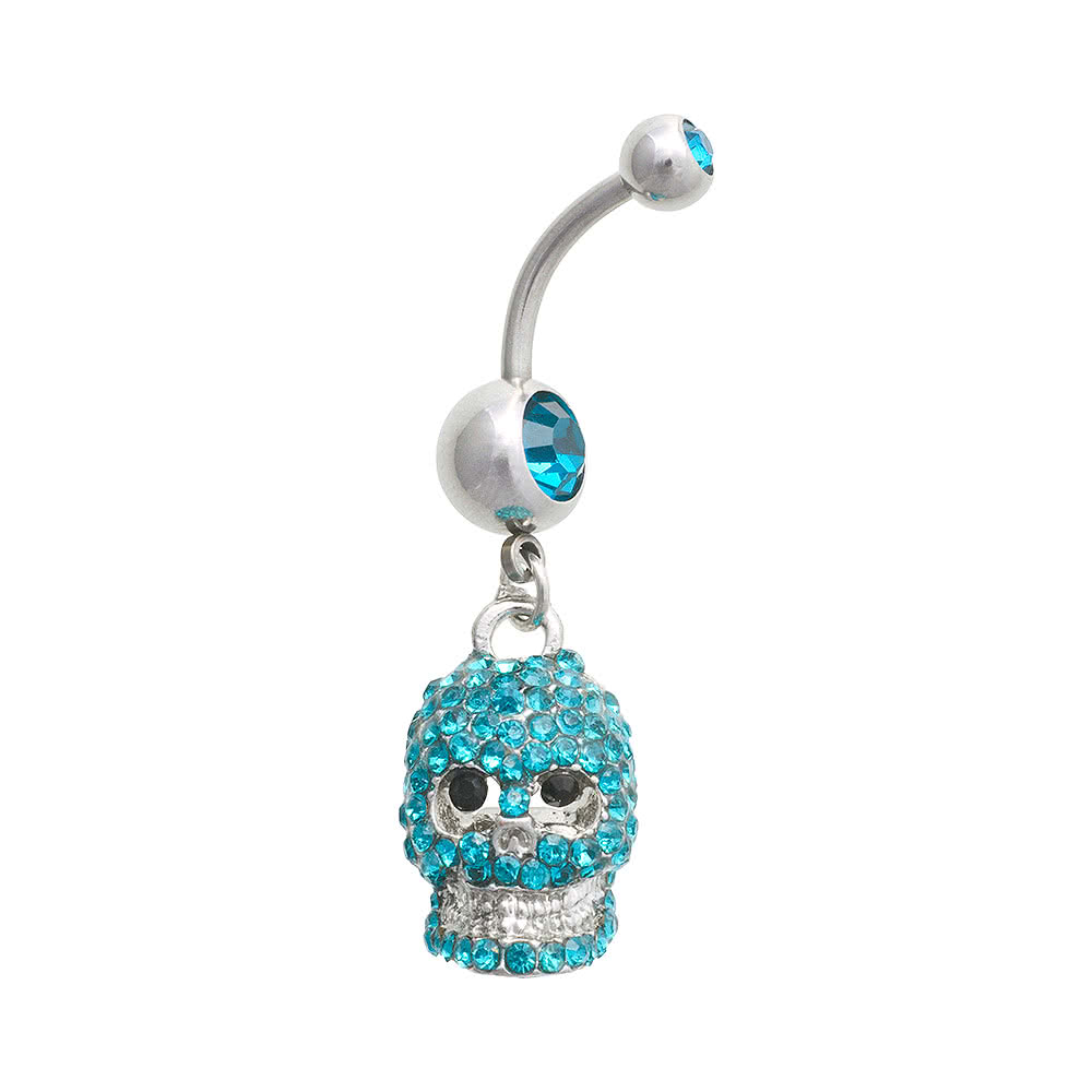 Blue Banana Skull 1.6mm Navel Bar (Zircon)