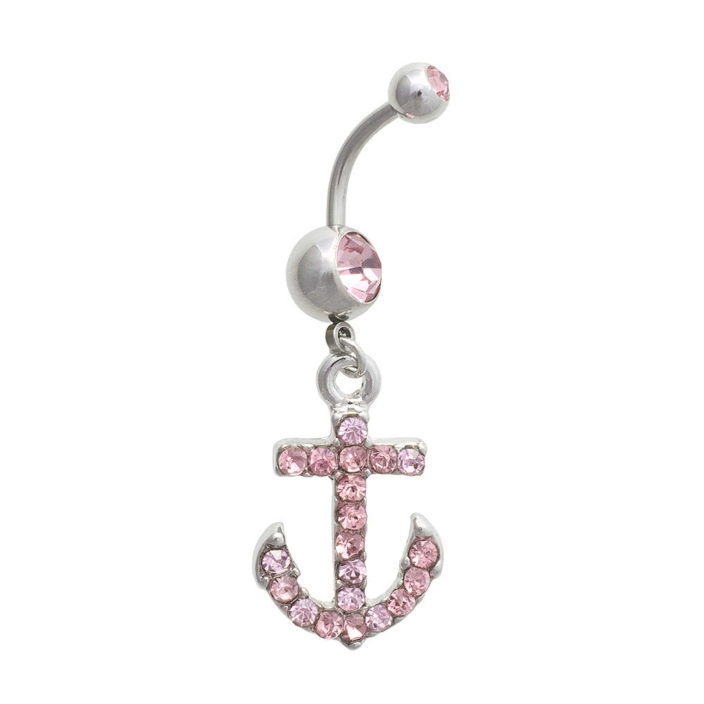 Blue Banana Anchor 1.6mm Navel Bar (Rose)
