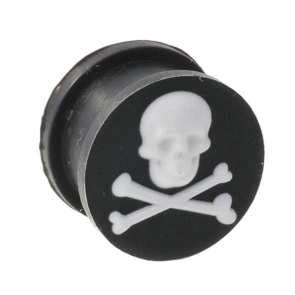 Blue Banana Silicon Skull & Cross Bones Plug (Black/White)