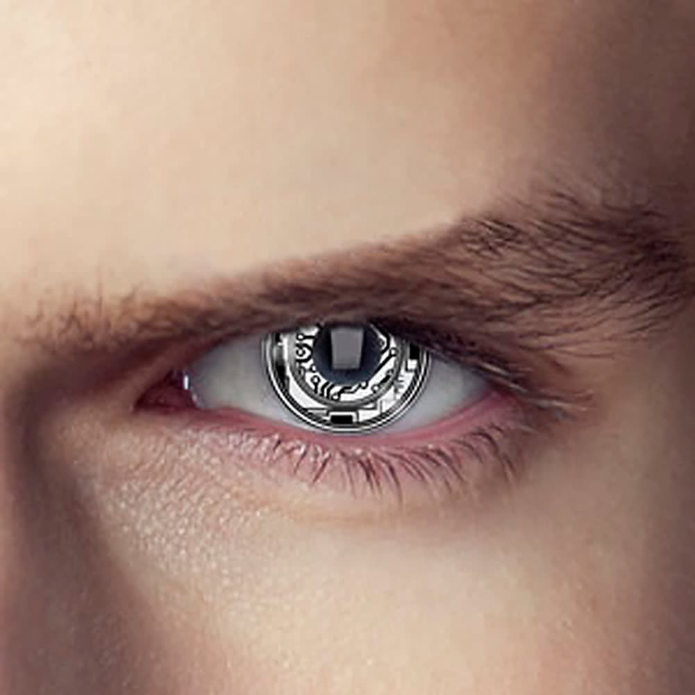 EDIT 1 Year Terminator Bionic Eye Coloured Contact Lenses (White)