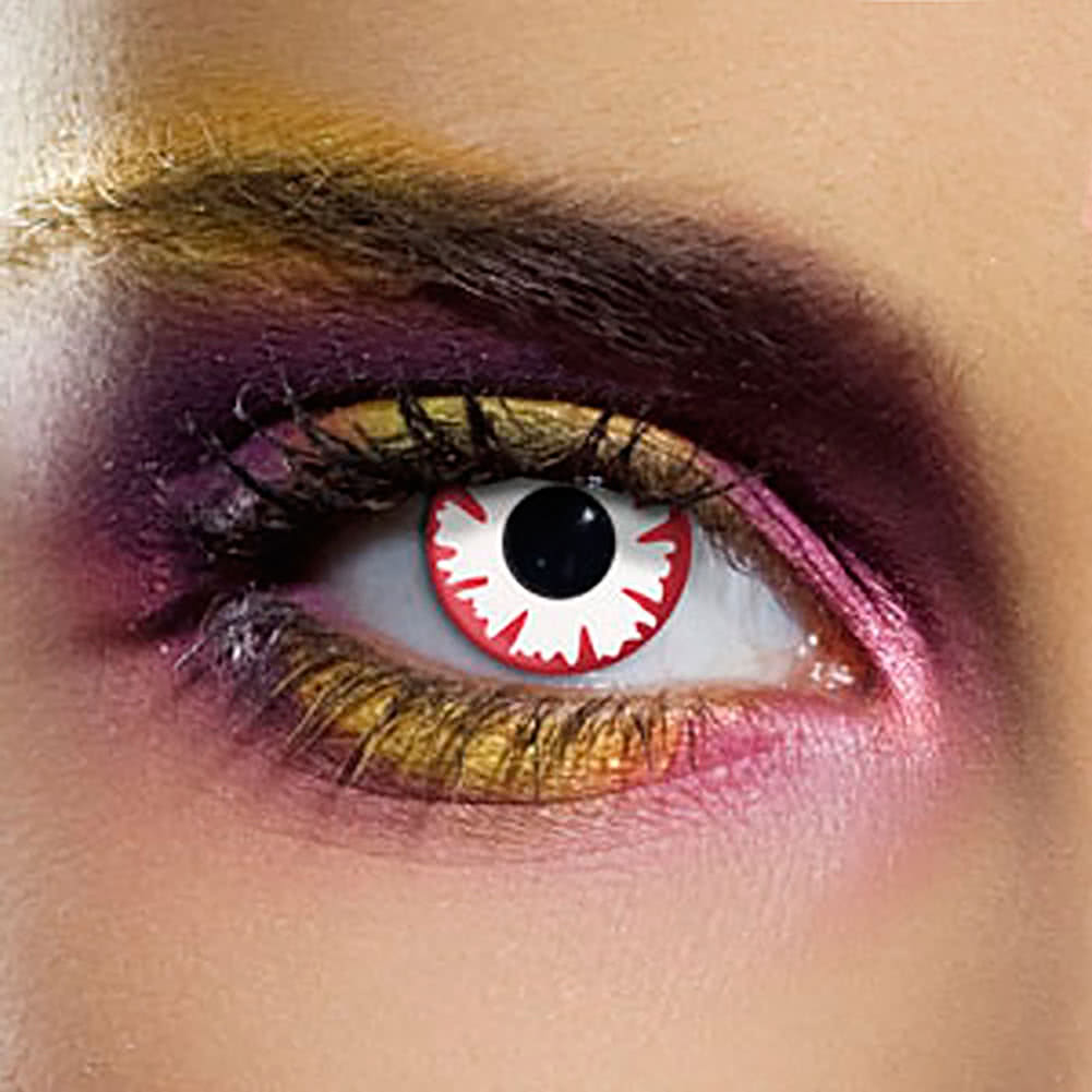 EDIT 90 Day Demon Coloured Contact Lenses (Red/White)