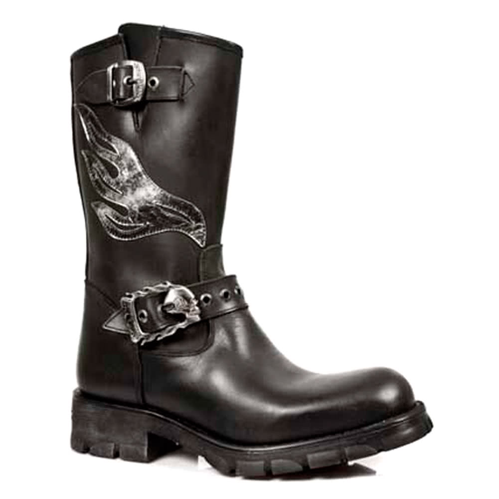 New Rock Boots Flames Biker Boots M.7601S1 (Black)