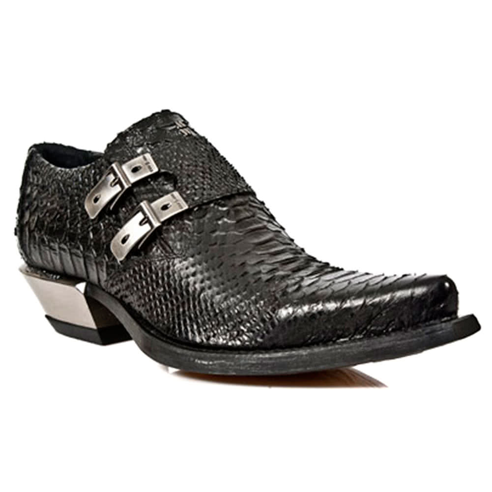 New Rock Boots Crocodile Skin Cuban Heel Shoes M.7934S2 (Black)