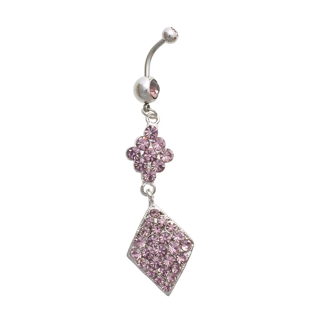 Blue Banana Diamond Shape Crystal 1.6mm Navel Bar (Lilac)