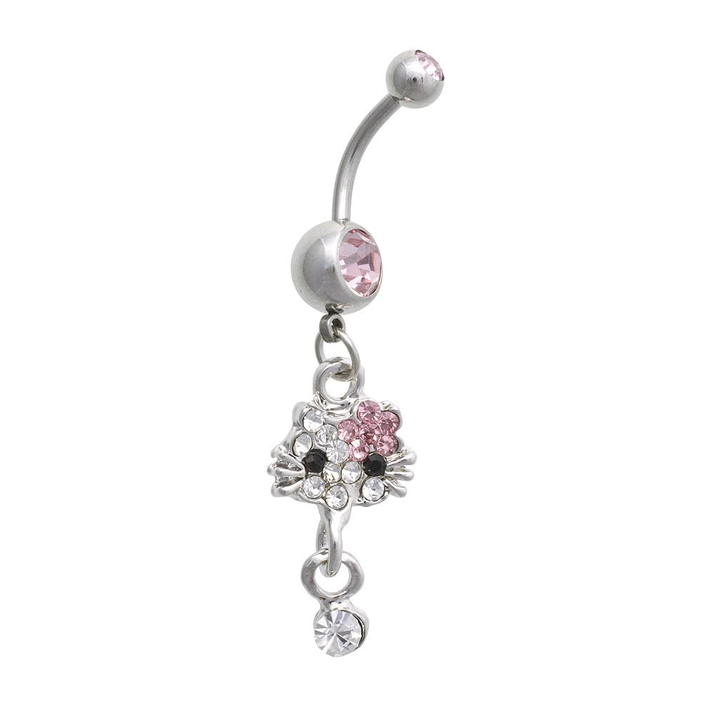 Blue Banana Cat Crystal 1.6mm Navel Bar (Pink)