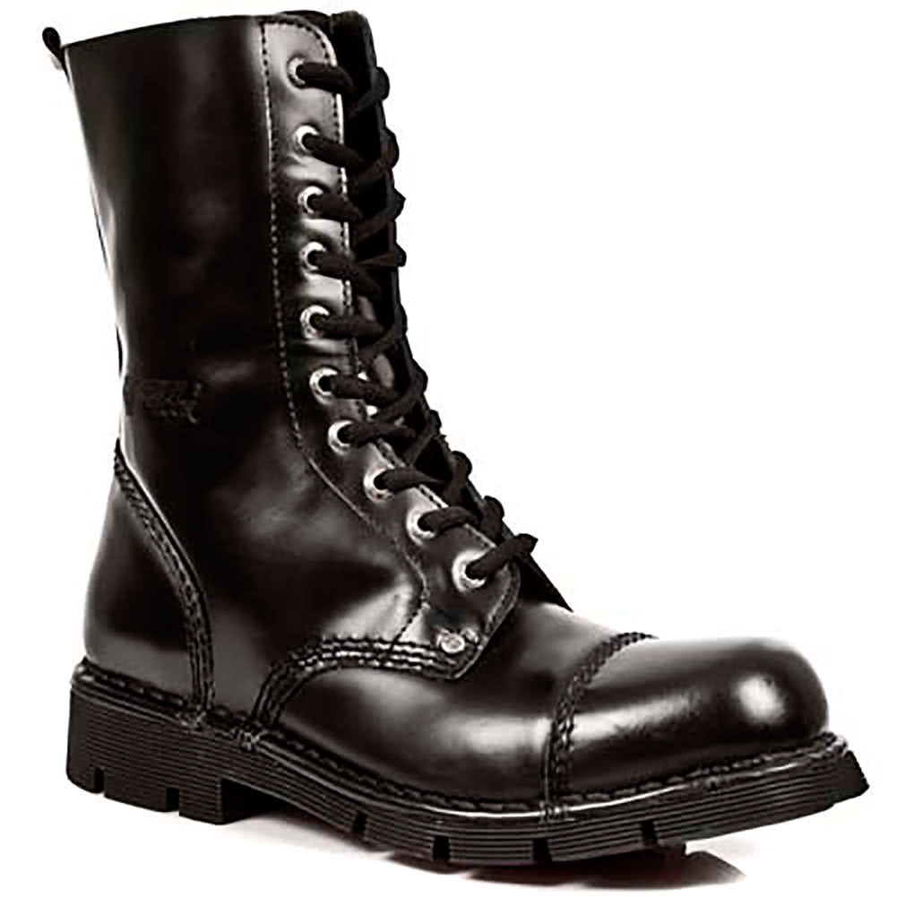 New Rock Boots Patent Lace Up Military Style M.NEWMILI10-S1 (Black)