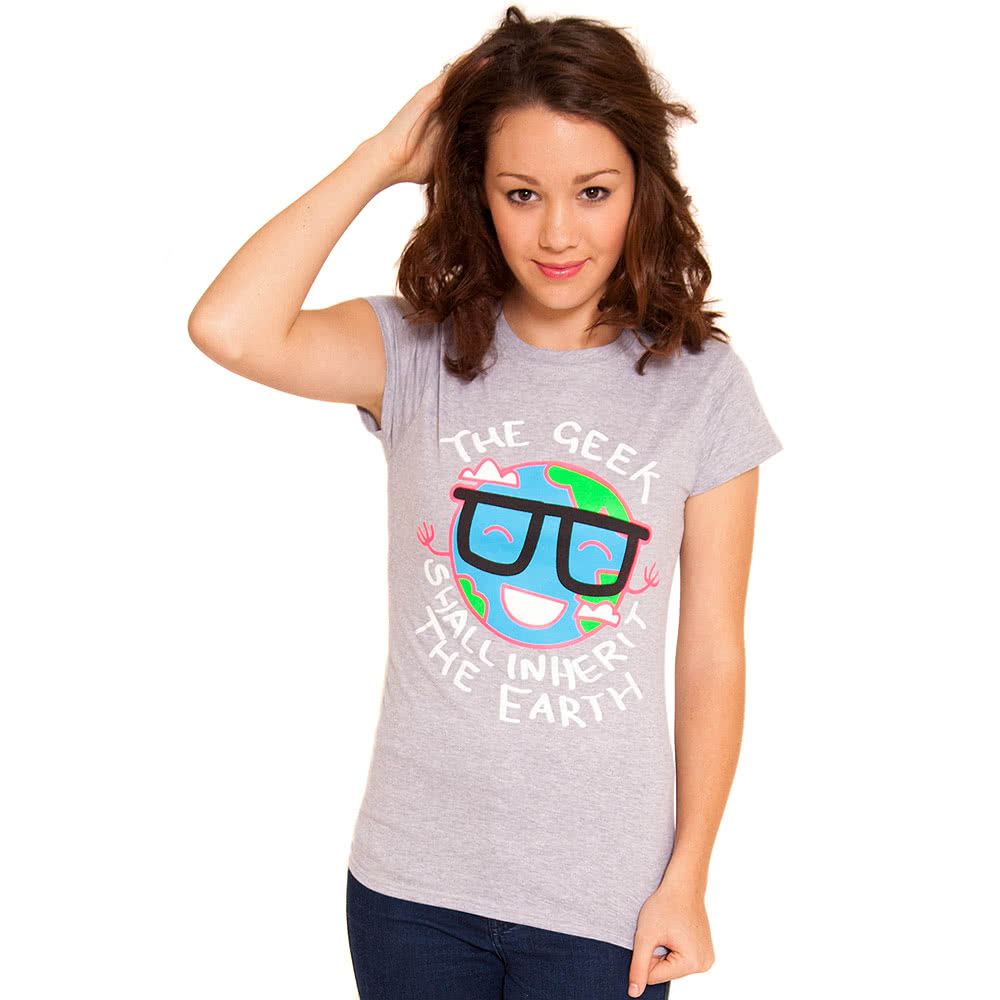 Flip Flop & Fangs Geek Skinny T Shirt (Grey)