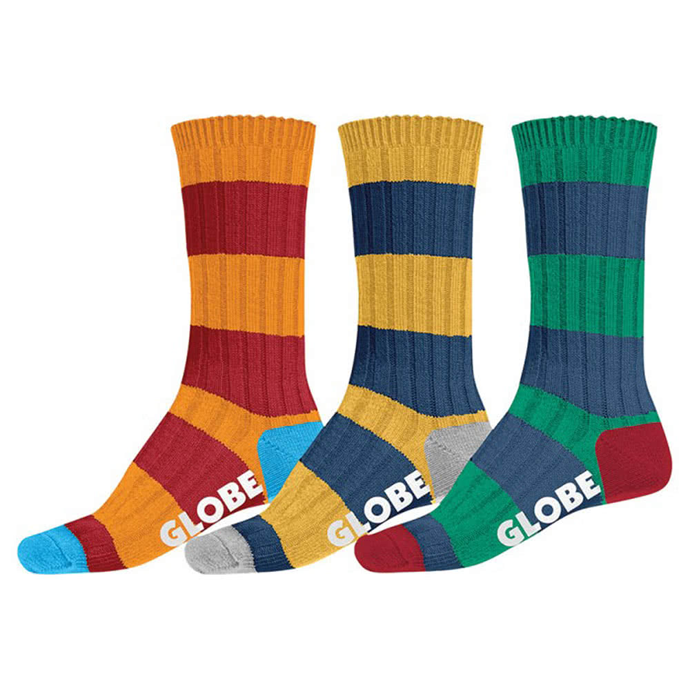 Globe Fat Stripe Boot Socks 3PK (UK7 - UK11)