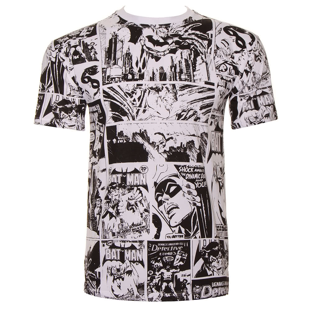 DC Comics Batman Strip Repeat T Shirt (White)