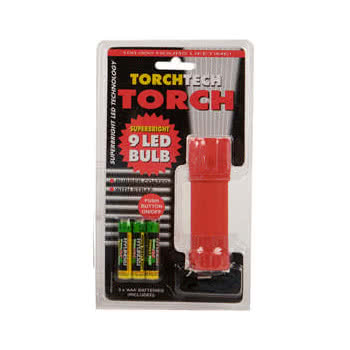 Blue Banana 9 LED Bulb Torch 10cm with Batteries (Red)