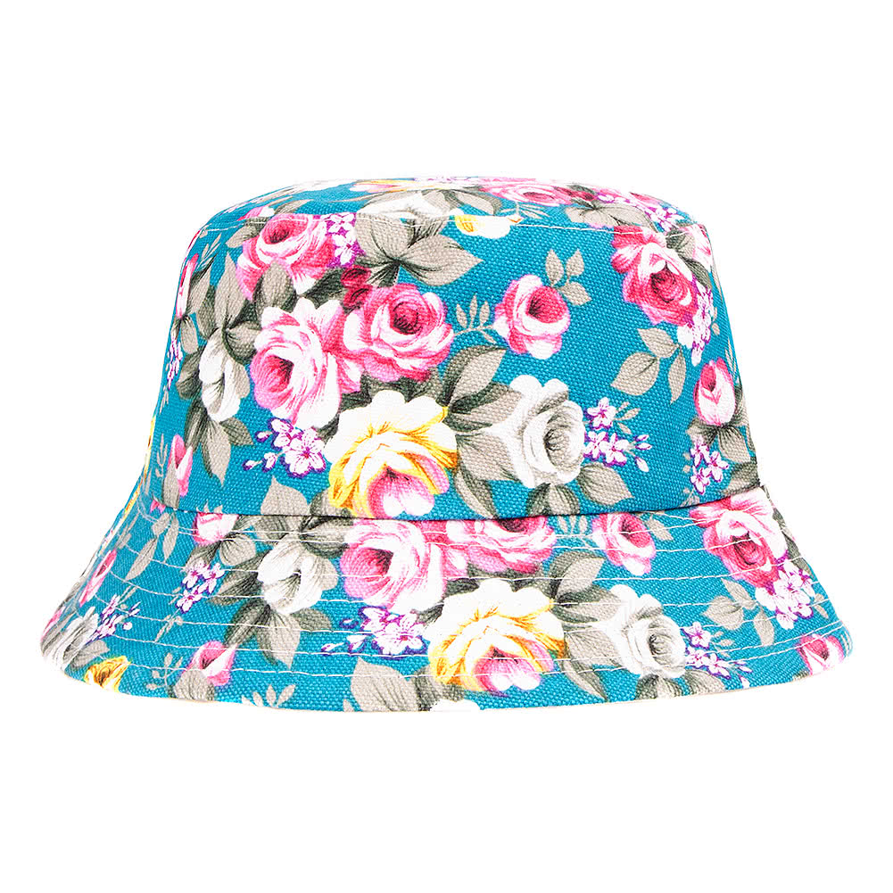 Blue Banana Flowers Canvas Bucket Hat (Turquoise)
