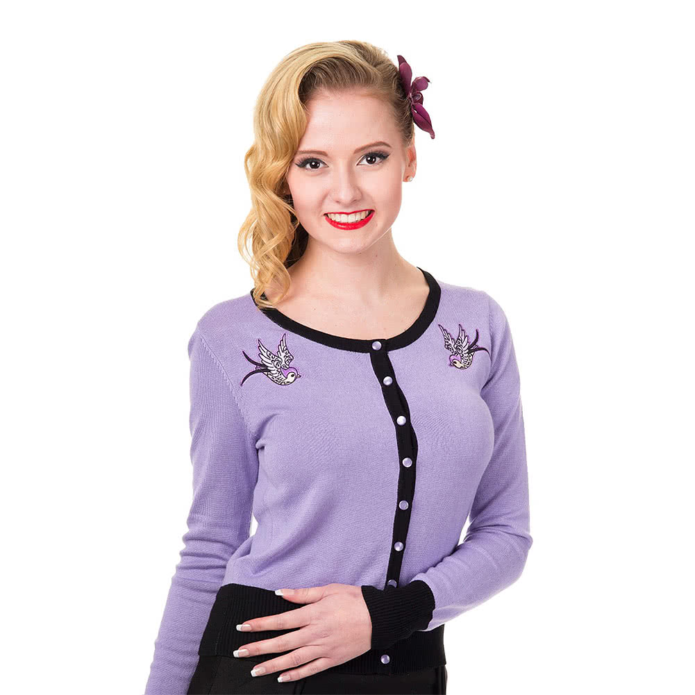 Banned Twisted Swallows Cardigan (BlackLavender)