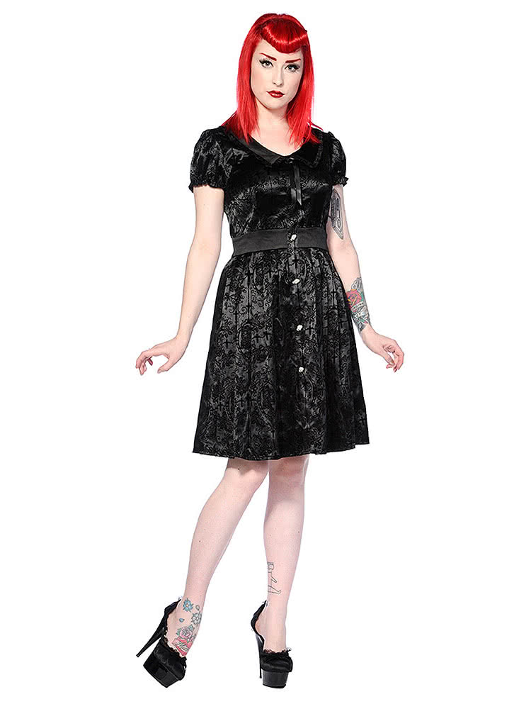 Banned Cameo Buttons Dress (Black)