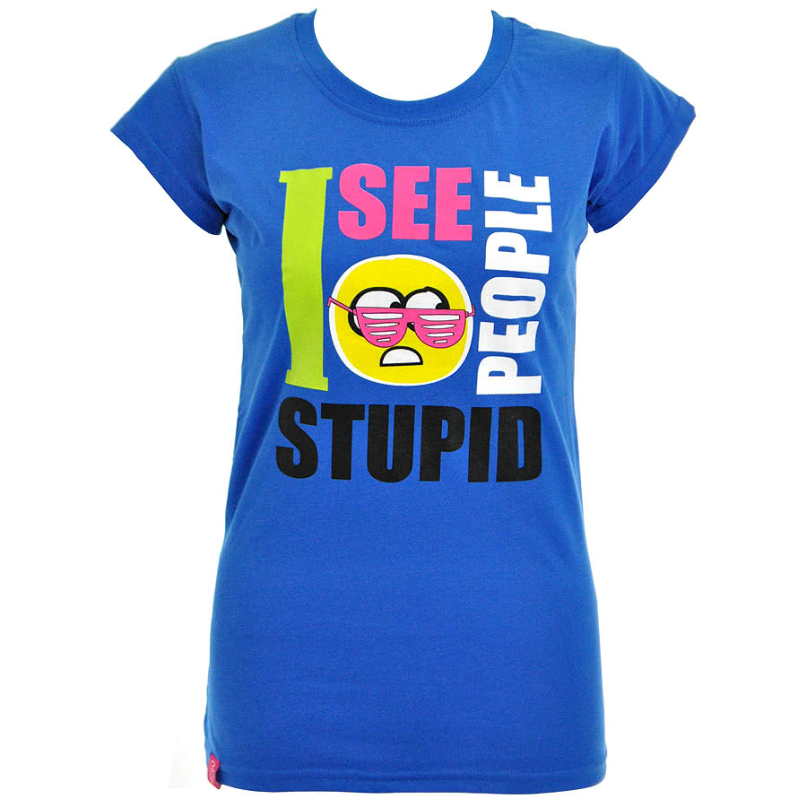 Flip Flop And Fangs Stupid People Glasses Skinny Fit T Shirt (Blue)