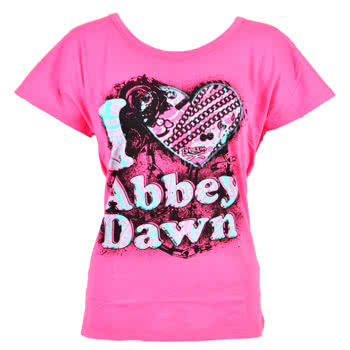 Abbey Dawn I Heart Abbey Dawn Slouch Skinny Fit T Shirt (Pink)