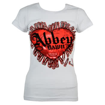 Abbey Dawn Pinheart Skinny Fit T Shirt (White)