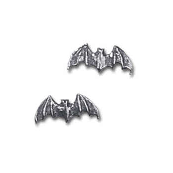 Alchemy Gothic Bat Stud Earrings (Silver)