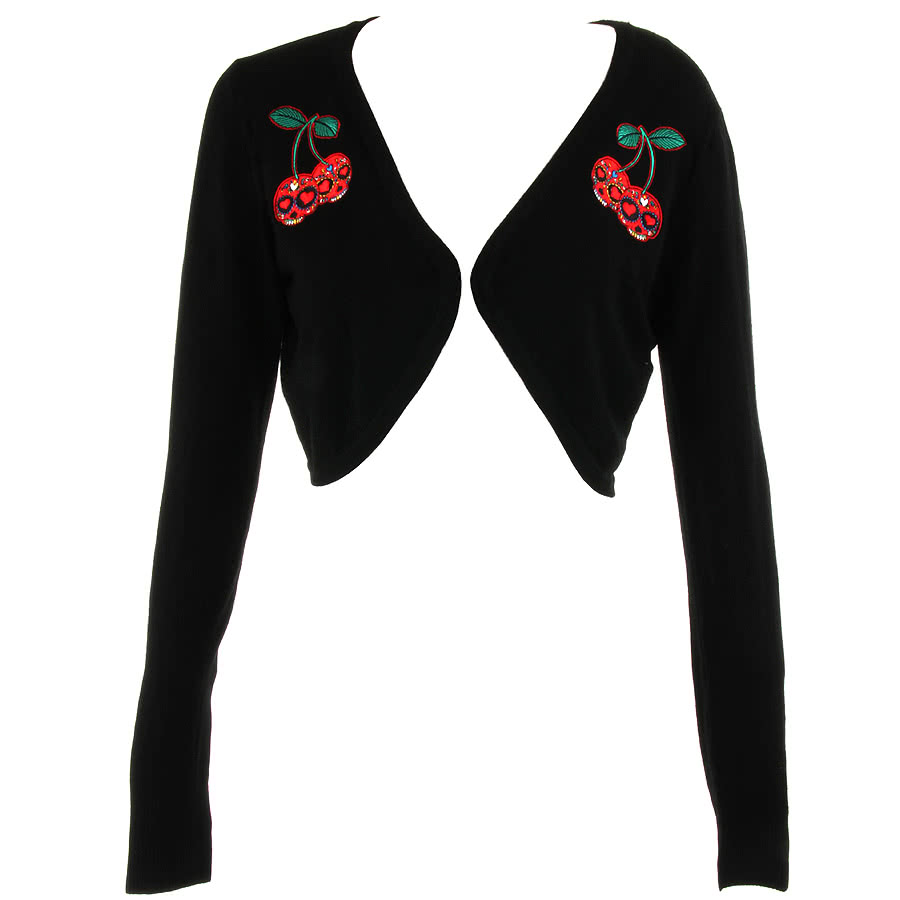 Banned Cherry Skull Crop Cardigan (Black)