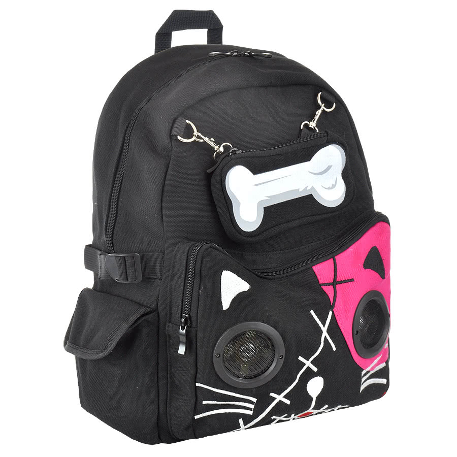 Banned Cat Bone Backpack With Speakers (Black/Pink)