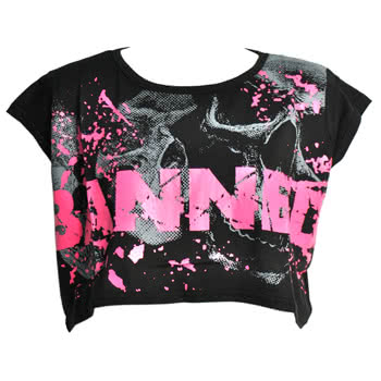 Banned Pink Splat Crop Top (Black)