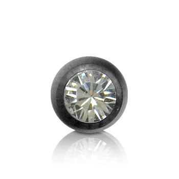 Black Titanium Jewelled 3mm Ball (Crystal)