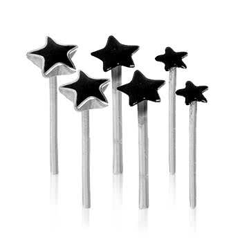 Pack of 6 Black Star Silver Nose Studs