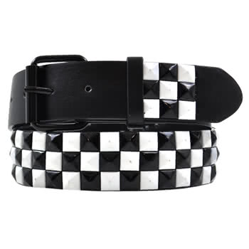 Blue Banana 3 Row Studded Checkered Belt (Black/White)