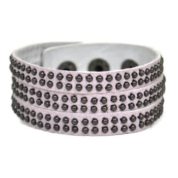 Blue Banana 3 Row Studded Leather Wristband (Lilac)