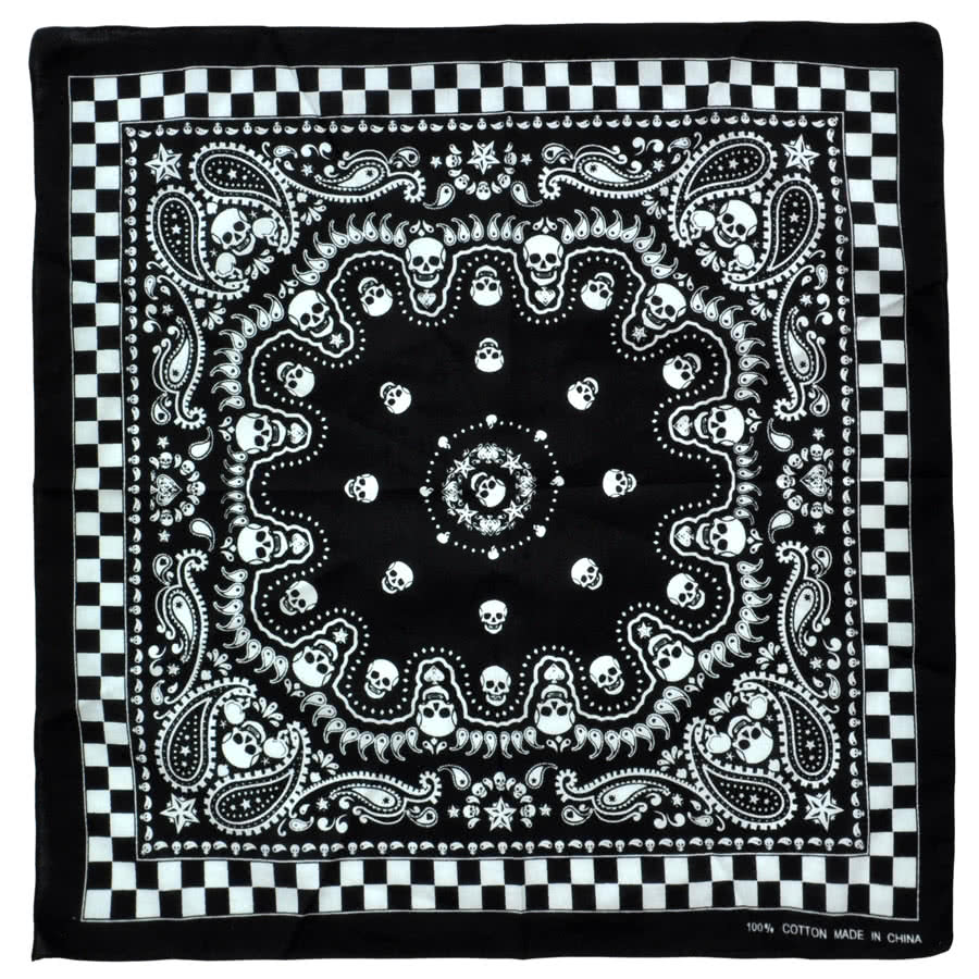 Blue Banana Skulls Bandana (Black/White)