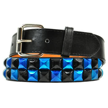 Blue Banana 2 Row Studded Belt (Black And Blue)
