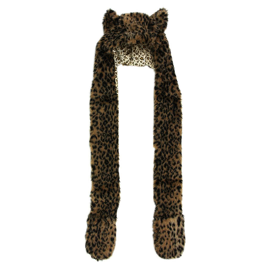 Blue Banana Leopard Scarf With Ears Hat (Brown)