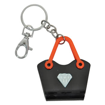 Blue Banana Diamond Handbag Keyring (Black/Red)