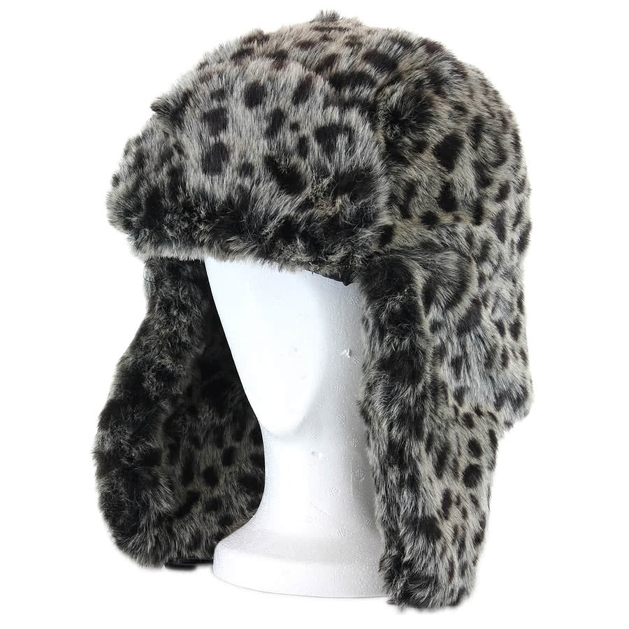 Blue Banana Fur Leopard Hat (Grey)