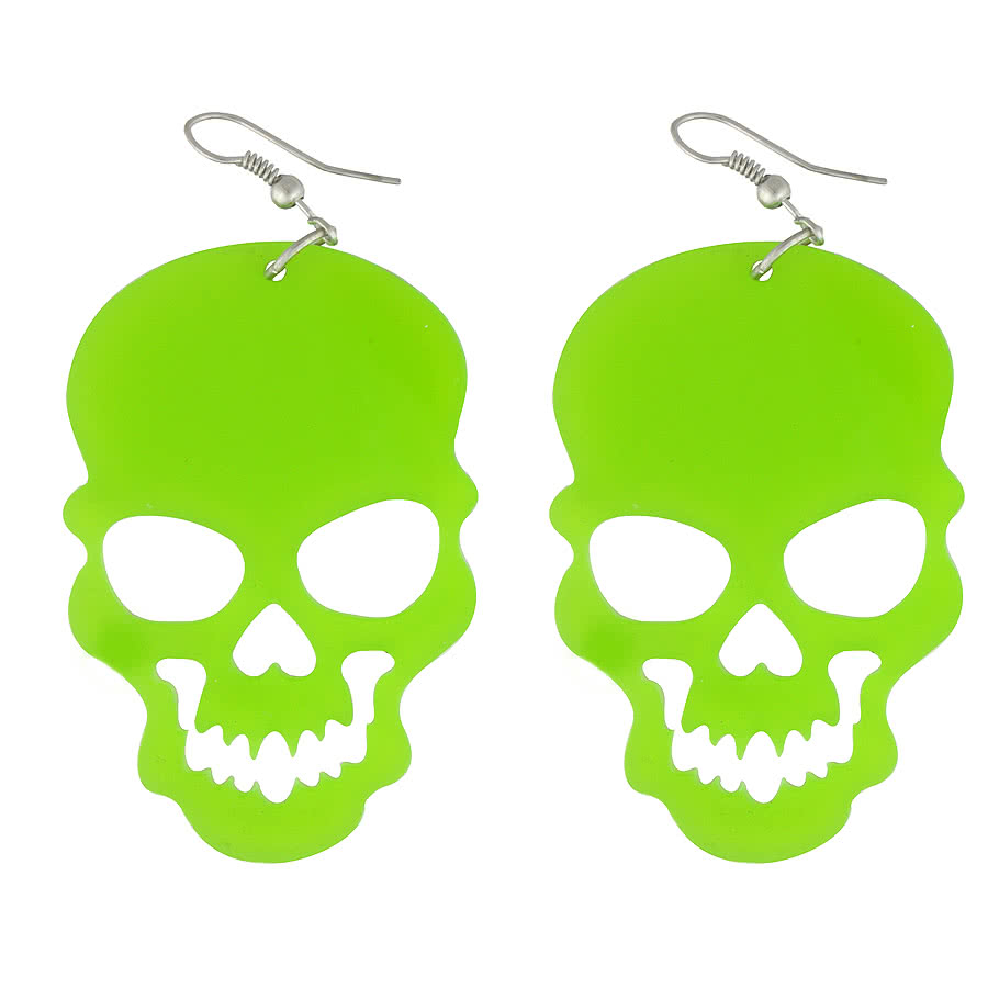 Blue Banana Cut Out Skull Earrings (Green)