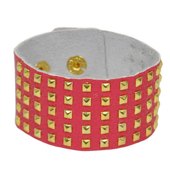 Blue Banana Small 5 Row Studded Wristband (Pink)
