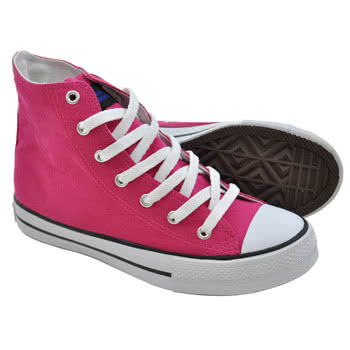 Blue Banana Canvas High Top Boots (Pink)