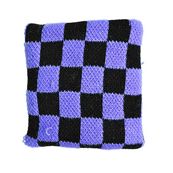 Blue Banana Black And Purple Checked Sweatband
