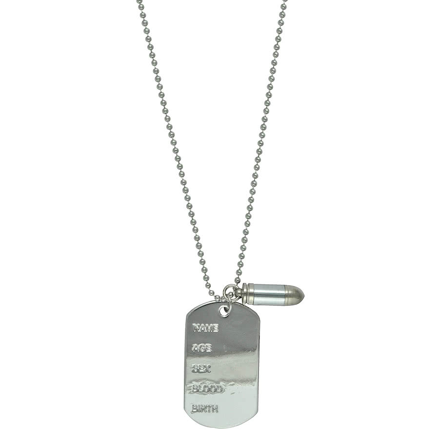 Blue Banana Dog Tags & Bullet Necklace (Silver)