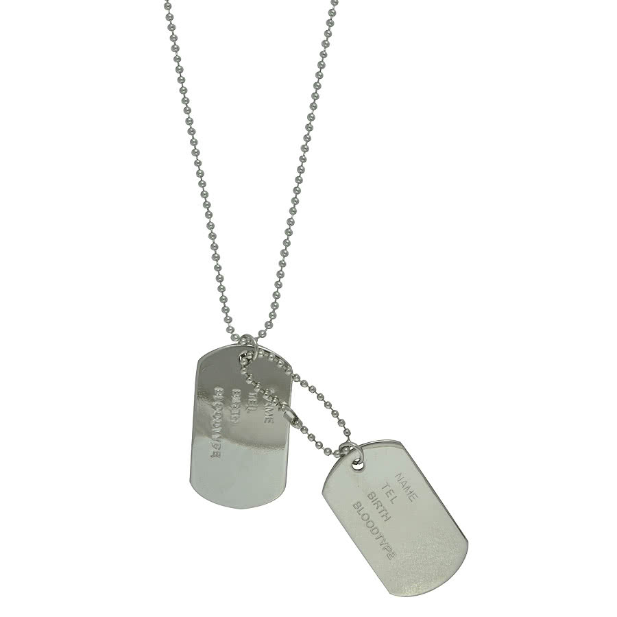 Blue Banana Dog Tags Necklace (Silver)