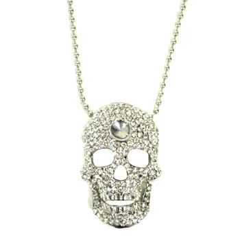 Blue Banana Half Skull Necklace (Silver)