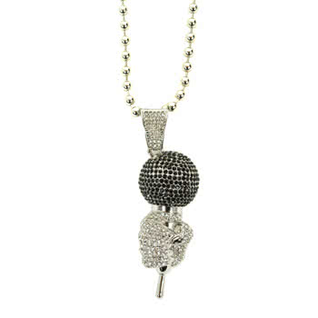 Blue Banana Microphone Necklace (Silver)